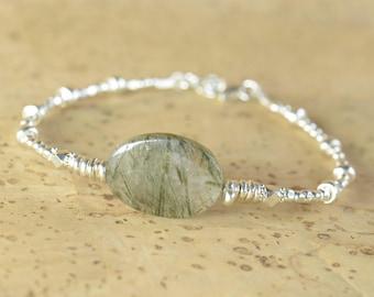 Tourmalinated quartz  and sterling silver Bracelet , Tourmalated Quartz  , Bridesmaid Gift,black and white bracelet