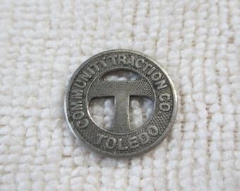 Vintage -BUs or Streetcar token marked - One Fare Token of Toledo Community Transit Co  - B C Adams President -  - Estate find!