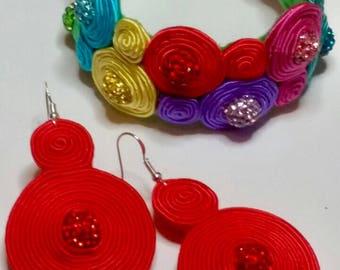 Soutache Bracelet and Earrings Handmade Upcycled
