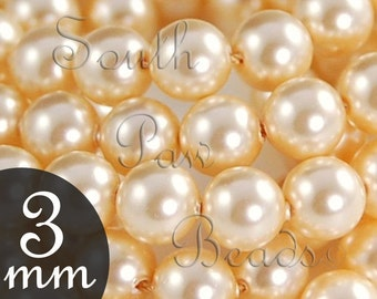 3mm Light Gold Glass pearl beads by Swarovski Style 5810 (50)