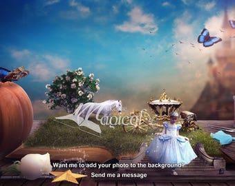 Cinderella Digital Backdrop , Cinderella Digital Background, Cinderella Stairs, Cinderella fantasy book, fairytale, princess