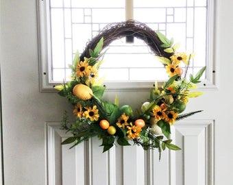 Easter Egg Wreath, Easter Wreath, Spring Wreath, Front Door Wreath, Spring Decor, Easter Decoration, Outdoor Wreath, OrangeSunflower Wreath