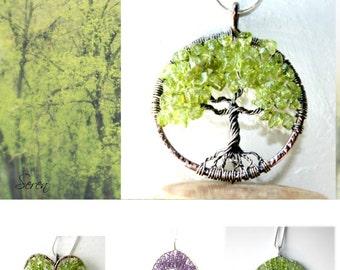 Peridot Tree Of Life Necklace, Birthstone Jewelry, Family Tree Jewelry, Gift for her, Tree Of Life Pendant, Spring Tree, Spring Jewelry, Leo
