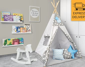 Tipi Set - Kids Play Tent Teepee - Cozy Grey Stars Blue