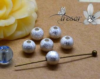 30pcs, Matt beads, brass, 5mm, gold, silver, bronze