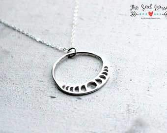 Moon Phase Pendant + Sterling Silver Moon + Celestial Jewelry + Astronomy Necklace + Astrology Jewelry + Wiccan Necklace + Unique Pendant