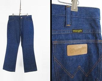 Vintage Wrangler Denim Jeans Dark Wash Western Wear Made in USA - Size 36 x 30