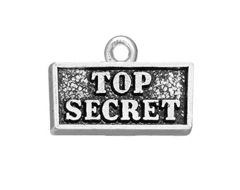 3 Top Secret Charms, 2 Sided, Antique Silver Tone (1K-154)