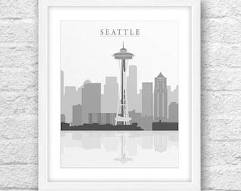 Seattle City, Seattle Printable, Seattle Art, Seattle Skyline, Wall Art, Minimal Design, Minimalist Art, Seattle Printable 8x10, Seattle