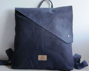 Canvas backpack navy with genuine leather flap