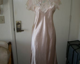 Vintage 1920's Flapper Style Liquid Satin Nightgown/Dress With Sheer/Lace Bodice. By Natori Bias Cut Size M. Old Hollywood Glamour.