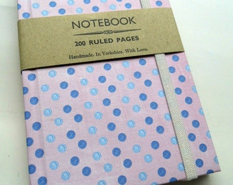 Handmade notebook - pink purple dots - 200 ruled pages with elastic A6