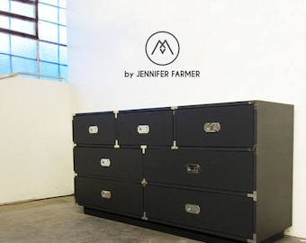 READY TO SHIP // Quick Ship Handcrafted Satin Grey Lacquer Campaign Dresser with Chrome Hardware