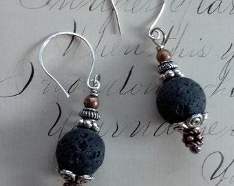 Lava Stone Earrings ~ Black Lava Stone Earrings