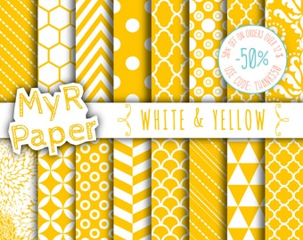 "SALE 50% Yellow Digital Paper: ""White & Yellow"" Digital Paper Pack and Backgrounds with Chevron, Damask, Triangles, Stripes and Polka Dots"
