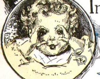 Finger spielen Kinder Kindergarten Druck 1927 Vintage Darstellung und Vers von Edith Goodyear, Rahmen