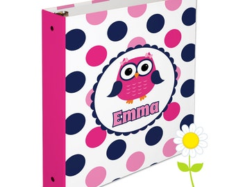 Personalized Owl Binder for Kids - Owl 3 Ring Binder for Girls - Custom School Binder - Pink & Navy Preppy Owl Binder - School Supplies