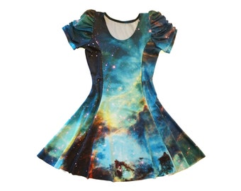 Galaxy Princess Seam Dress ~ CHOOSE SLEEVE OPTIONS ~ Actual Space Image ~ Printed Spandex Galaxy Green