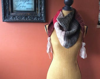 Kerchief Scarf with Tassels - OOAK
