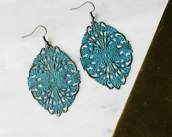 The Birchfield - Antique Brass and Turquoise Filigree Teardrop Earrings (Nickel Free)