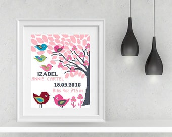 Birth announcement cross stitch pattern Baby cross stitch Animals Birth cross stitch PDF Baby Birth Sampler Birth Records Personalized Gift