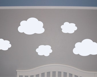 Set of 5 Clouds Wall Decal - Cloud Wall Decal - Cloud Decal - Nursery Wall Decal - Nursery Cloud Wall Decal - Wall Decal