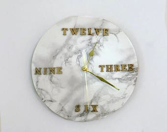 Marble and gold effect Wall Clock // Housewarming gift // Office Accessory