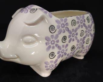 Ceramic Piggy Planter - Hand Stamped Design - Handmade Ceramic Planter - Indoor Garden - Retro 1960's Design - Ready to Ship