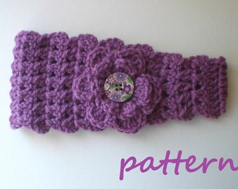 Crochet Headband Earwarmer Pattern. PDF 028.