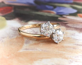 Vintage Toi Et Moi Double Diamond Ring 1ct t.w. Old European Cut Bypass Ring 18k Yellow Gold Platinum