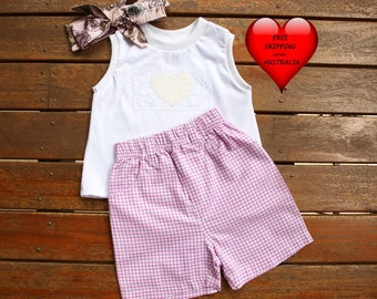 Girls' Short set size 1, Girls' shorts size 1, Toddler short, Pink and white gingham short, GREAT PRICE only one set.