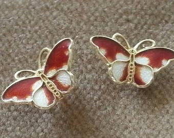Vintage Hroar Prydz Butterfly Earrings Sterling Guilloche Butterfly Posts