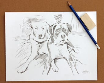 Pet Portrait Pencil Drawing Personalized Dog Lover Gifts Sketch on Artists Grade Paper