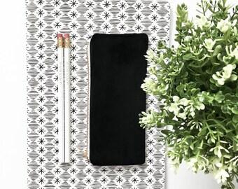 "BLACK VELVET POUCH / clutch bag, make-up bag, pencil case / cotton black and white / 3.5""x8"" / gold zip / la petite boite / made in quebec"