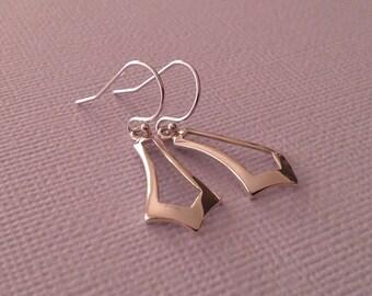 Silver Chevron Earrings -Chevron Earrings in Sterling Silver