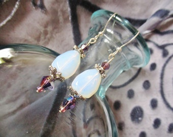 Opal teardrop earrings with lavender crystal