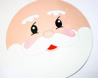 Santa Face Sign - Christmas Sign - Wreath Sign - Circle Shaped Sign