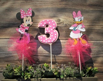 Minnie, Daisy and age number Centerpiece or Cake Toppers