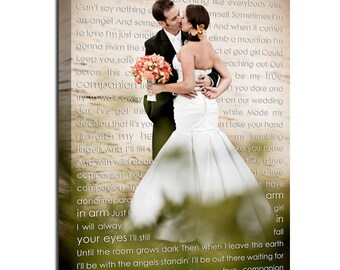 Wedding sign Canvas Art Personalized Your Photo and Words CUSTOM vows lyrics Wedding Anniversary Gift Art  16x20  inches