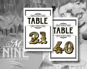 Vintage Gold Printable TABLE NUMBERS 21-40 Vintage Party Download Table Number Signs, Party Decor, Vintage Wedding Décor BWG39