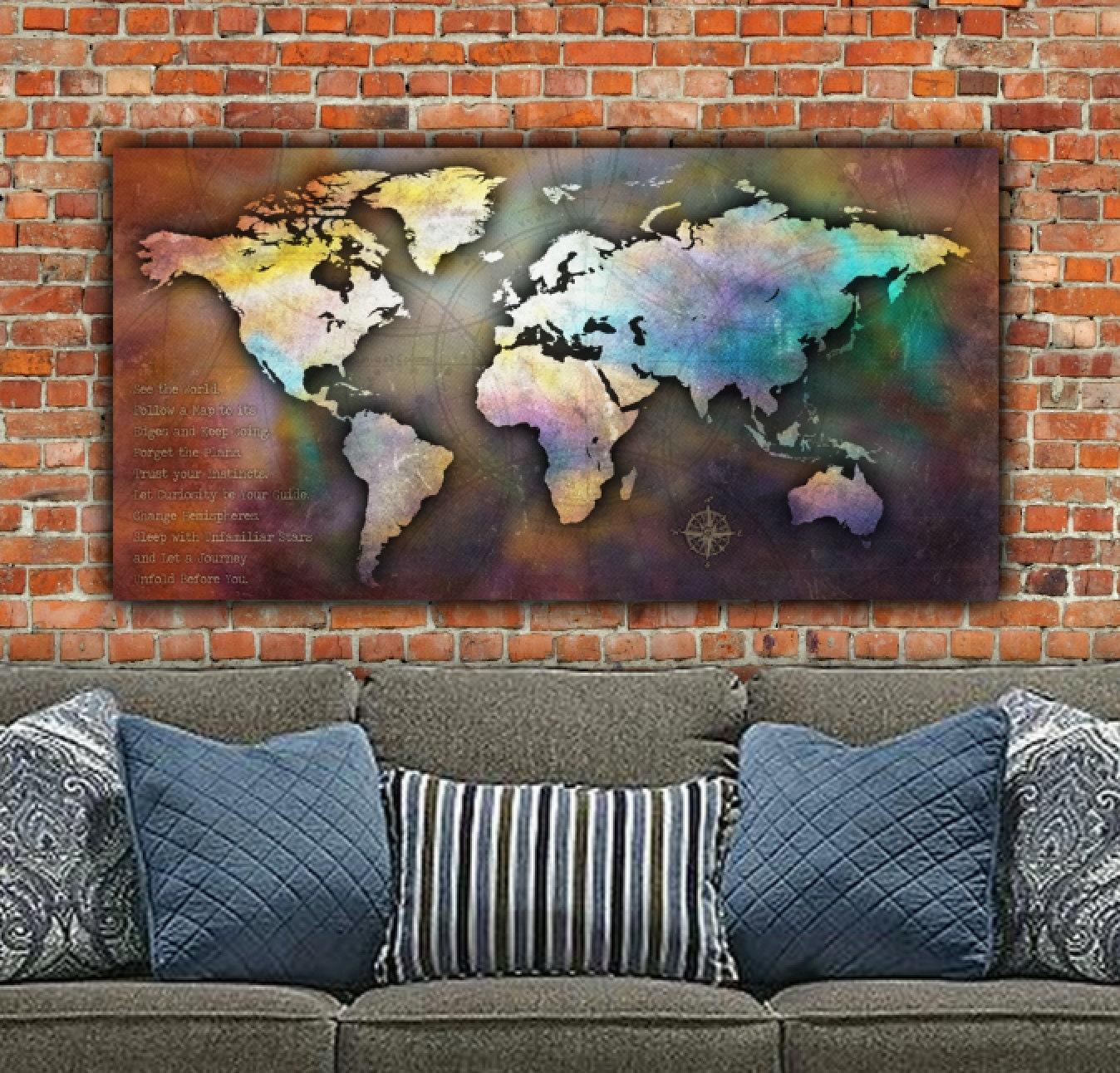 Single large canvas world map 48x24 antique map world map zoom gumiabroncs Choice Image