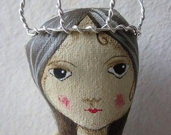 Mermaid brooch, mermaid art brooch, wearable art.