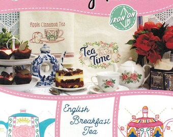 NEW Tea Time Designs Aunt Martha's Hot Iron Embroidery Transfer Booklet 8 pages #413