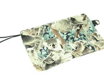 Koala Bear fabric zip pouch for cosmetics and tech gear -like your iPhone 6 plus