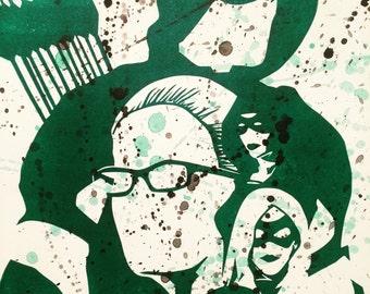 "Arrow - 9"" x 12""  - Original Linoleum Block Print - Green"