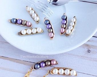 Gold pea pod white/ multi color pearl TN planner dangle charm clip