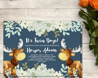 Baby Shower Invitation, Twin Boys Baby Shower, Moose Baby Shower, Woodland Baby Shower, Blue Baby Shower, Woodland Moose, Blue White Floral