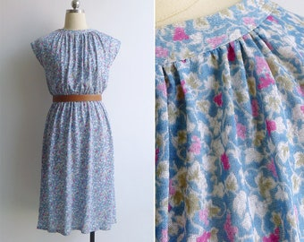Vintage 80's 'Grapevine' Floral Knit Gathered Day Dress XS S M