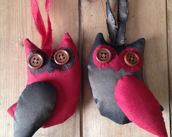 Pair of Owls - Brown & Bright Red - Christmas Decorations