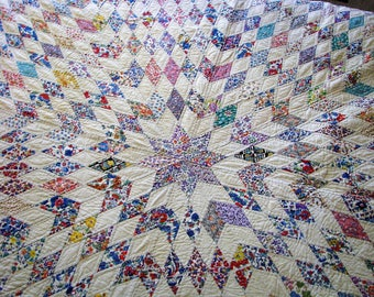 Quilts for Sale - Vintage 1930's Lone Star Hand Sewn and Hand Quilted - Never Used - Quilt Rescue - Vintage Queen or King Love Star quilt